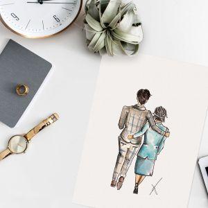 Persoonlijke illustratie bruid(egom)+ouder Sophie de Ruiter