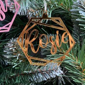 Kersthanger hexagon met naam