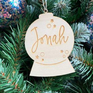Gepersonaliseerde kersthanger sneeuwbol met naam
