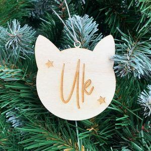 Gepersonaliseerde kersthanger kattenhoofdje met naam