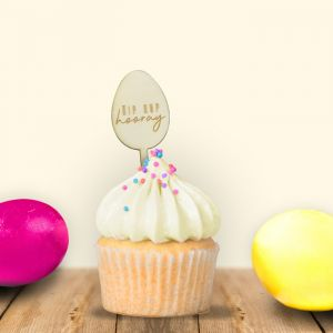 Cupcake prikkers (6st) paasei hip hip hooray