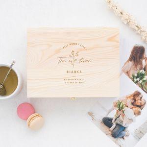 Gepersonaliseerde houten theedoos moederdag cadeau