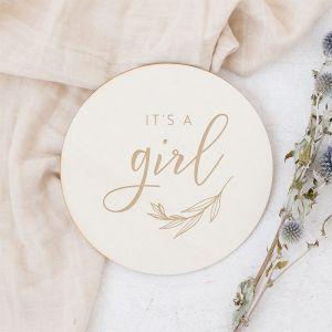 Houten zwangerschapsaankondiging boy/girl met takje