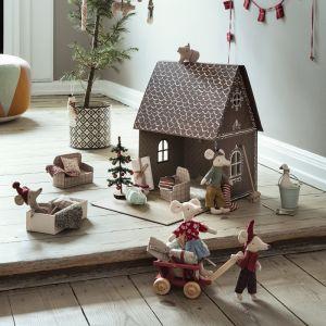 Kerstsokje rood/zand Maileg