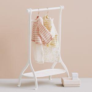 Miniatuur kledingrek met hangers off white (medium) Maileg