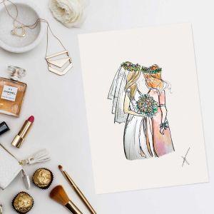 Persoonlijke illustratie bruid+bruidsmeisje Sophie de Ruiter