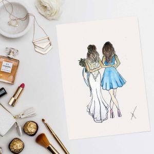 Persoonlijke illustratie bruid met bruidsmeisje door Sophie de Ruiter