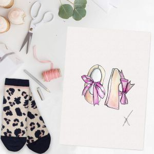 Persoonlijke illustratie eerste schoentjes door Sophie de Ruiter