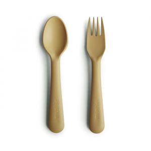 Bestek vork en lepel mustard Mushie