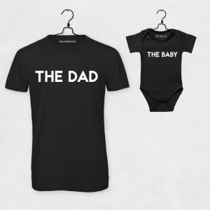 T-shirt set The Dad & The Baby zwart