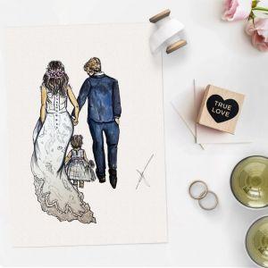 Persoonlijke illustratie bruidspaar Sophie de Ruiter