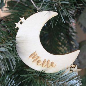 Kersthanger maan met naam