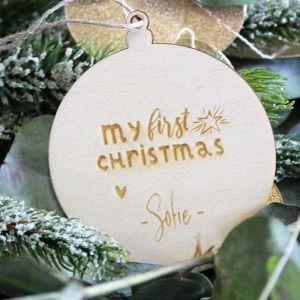Houten kerstbal my first christmas gepersonaliseerd