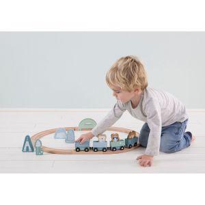 Houten treinbaan met trein Adventure Blue Little Dutch