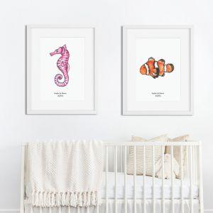 Aquarel illustratie zeepaardje door Sophie de Ruiter
