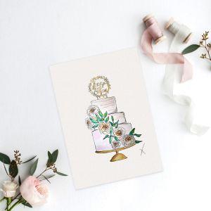 Persoonlijke illustratie bruidstaart door Sophie de Ruiter
