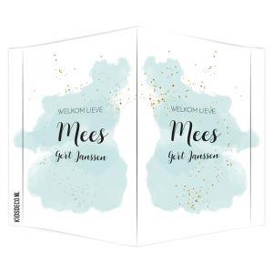 Geboortebord watercolor glitter mint