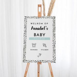 Welkomstbord babyshower jongen