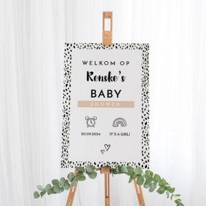 Welkomstbord babyshower meisje