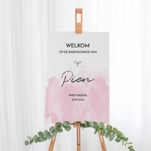 Welkomstbord babyshower watercolor roze