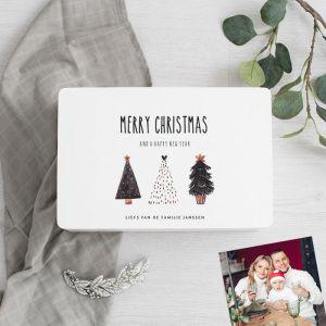 Witte houten kerstbox kerstboompjes
