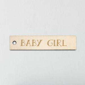 Houten labeltje geboorte bedankje