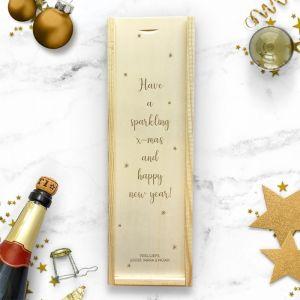 Wijnkist kerst gepersonaliseerd met sterretjes